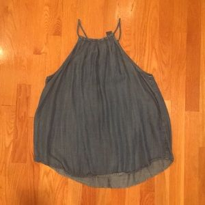 Denim High Neck Tank Top
